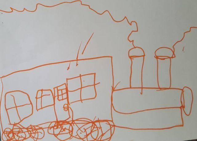 tekening stoomtrein