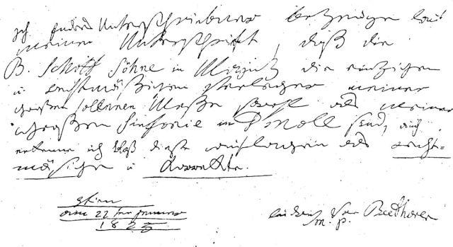 document aan uitgever schott 1825